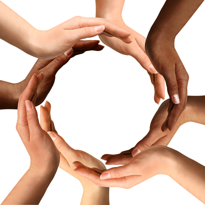 Multiracial Hands Making a Circle